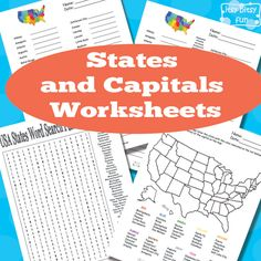 Itsy Bitsy Fun has FREE States and Capitals worksheets. This pack includes word search, fill in the blanks, and more. Us Geography, Geography Activities, Learning Activities, Teaching Geography, Learning Tools, Early Learning, Teaching History, Teaching Kids, Elementary Teaching