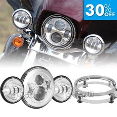 """motorcycle-parts: 7"""" Chrome LED Daymaker Projector Headlight Passing Light for Harley Davidson New #Motorcycle - 7"""" Chrome LED Daymaker Projector Headlight Passing Light for Harley Davidson New..."""