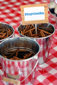 Pretzels become haystacks for a boy's farm-themed first birthday party!