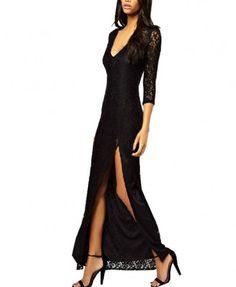 Black V Neckline Lace Long Dress