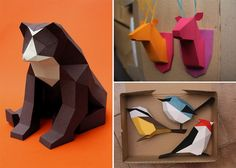 Geometric Paper Birds and Animals by Estudio Guardabosques