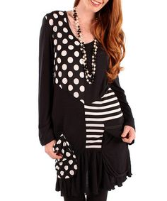 Take a look at this Black & White Polka Dot Stripe Tunic - Women by Aster on #zulily today!
