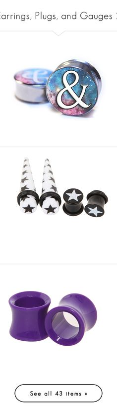 """""""Earrings, Plugs, and Gauges 2"""" by punkishly-perfect-in-every-way ❤ liked on Polyvore featuring jewelry, earrings, plugs, accessories, piercings, surgical steel jewelry, surgical steel earrings, cosmic jewelry, taper earrings and black and white jewelry"""