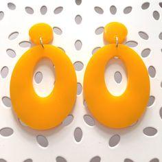 Sassy Sixties hoop stud earrings mustard yellow by LorelaiLorelai