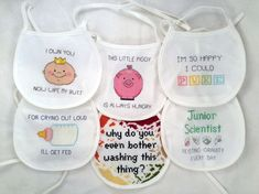Funny baby bib cross stitch pattern bundle by TheCompassNeedle