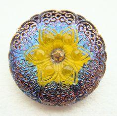 "BiG PAiR czech glass buttons Yellow Flower ab lace 1 1/16"" x2"