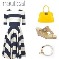 Nautical fashion inspiration, striped dress, jack rogers, anchor bracelet, tori birch