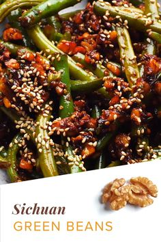 Veggie Dishes, Veggie Recipes, Side Dishes, Dinner Recipes, Walnut Recipes, Green Bean Recipes, Food Videos, Green Beans, Spicy
