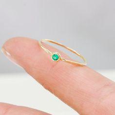 Emerald Ring in 14k Gold Thin Green AAA Emerald by ScarlettJewelry, $274.00