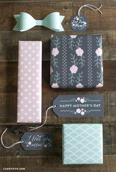 Free Downloadable Printable Mother's Day Gift Tags, Bow and Gift Wrap in Pretty Mint and Blush