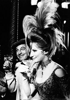 Barbra Streisand and Gene Kelly on the set of Hello, Dolly!