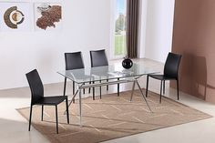 """Atos Dining Table - DescriptionA contemporary approach to modern dining with just a hint of classical design in the rectangular shape and base shape. A glass table top held up by a chrome base.Dimensions - Show in CentemetersHeightWidthDepthTable Dimensions33.0""""55.0""""Dimensions - Show in InchesHeightWidthDepthTable Dimensions83.8cm139.7cmAdditional InformationWhat's Included: Glass Dining Table What's Not Included: Dining Chairs Assembly Required: Yes Some Basic Assembly Is Required"""