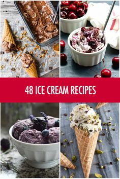 48 Ice Cream Recipes that make perfect summer desserts because they are no-bake and such refreshing treats Sugar Free Desserts, Frozen Desserts, Gluten Free Desserts, Summer Desserts, Frozen Treats, Healthy Desserts, Summer Recipes, Easy Ice Cream Recipe, Homemade Ice Cream
