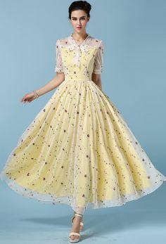 2821b22f80f Yellow Tie-neck Sheer Mesh Embroidered Dress. Cheap Maxi DressesCheap  Dresses OnlineDress ...