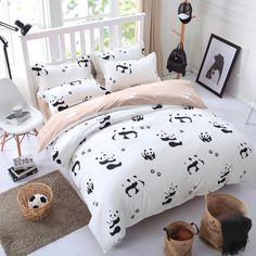 Barato Preto e Branco panda dos desenhos animados única rainha king size conjunto de cama lençol capa de edredão fronha roupa de cama têxtil de casa 3/4 pcs conjunto, Compro Qualidade Conjuntos de cama diretamente de fornecedores da China: PARÂMETROStecido: algodão/polysterimpressão: impressão reativa tingimentodetalhes: 1 pc folha de cama/fronha 1or2pcs/1