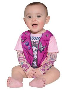 Infant-Baby-Girl-Faux-Real-Tees-Motorcycle-Biker-Romper-Costume-Tattoo-Arms-Pink