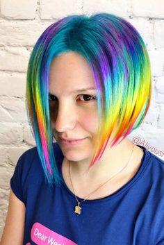 Rainbow Hair Styles to Look Like a Unicorn ★ See more: http://glaminati.com/rainbow-hair/