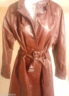 Vintage AMBE Leather Trench Coat Size 14/15, Burgundy, 60-70s