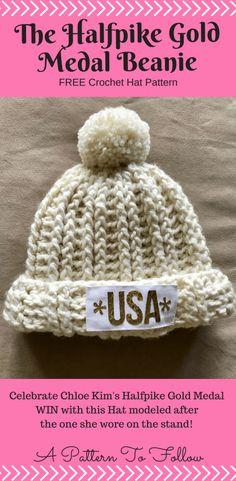 Halfpike Gold Medal Beanie, Celebrate Chloe Kim's Gold Medal, Free Crochet Pattern, Quick pattern using Bulky yarn