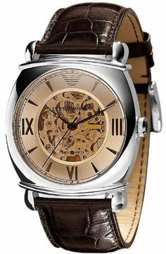 Armani Meccanico Automatic Brown Dial Men's Watch - AR4634 Armani. Save 15 Off!. $334.00. Water Resistant: 5 ATM. Brown croco-embossed leather strap. Dial accented by shining roman numerals and hour dashes. Warranty: 2 year international