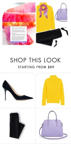 """""""Color Block Friday"""" by pattykake ❤ liked on Polyvore featuring Jimmy Choo, J.Crew, Lands' End, Kate Spade and Renato Nucci"""