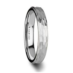 WINNIE Womens White Tungsten Ring with Raised Hammered Finish Center and Polished Step Edges - 4mm