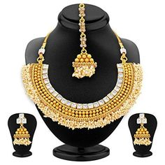 f039933ce7 1 Gram Gold Jewelry Set with Earrings – Dista Cart 1 Gram Gold Jewellery,  Gold