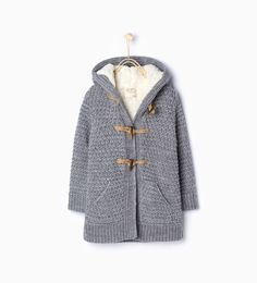 Knitted three quarter length jacket with hood-Cardigans and Sweaters-Girl | 4-14 years-KIDS | ZARA United Kingdom