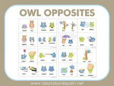 Owl Opposites Mix and Match ~ Free Printables Games For Toddlers, Toddler Activities, Learning Activities, Have Fun Teaching, Teaching Tools, Childhood Education, Kids Education, Autism Awareness Month, Beginning Of The School Year