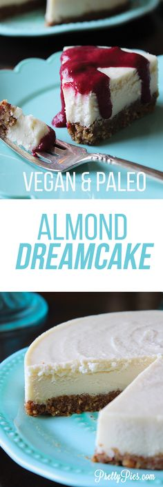 Smooth, light and DREAMY: Almond Dreamcake. Made with almonds! No dairy and no cashews! #Vegan & #Paleo (also free from gluten/grains, eggs, & refined sugar) recipe from PrettyPies.com