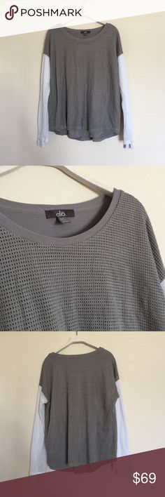 ALO grey white mesh long sleeve pullover xsmall Excellent condition. Double layered, mesh on top. White sleeves and grey body. Loose fitting. Bundle to save 25%! ALO Yoga Sweaters Crew & Scoop Necks