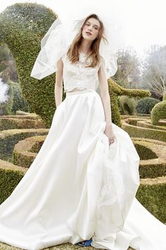This two-piece 'Bliss' dress by Monique Lhuillier is fresh, fun and flirty. Perfect for the young bride! Image: Ivory