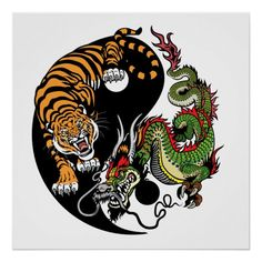 Illustration of dragon and tiger yin yang symbol of harmony and balance. Vector illustration vector art, clipart and stock vectors. Dragon Tiger Tattoo, Tiger Dragon, Dragon Art, Dragon Yin Yang Tattoo, Yin Yang Tattoos, Harmony Symbol, Feng Shui Animals, Yin Yang Art, Japanese Dragon Tattoos