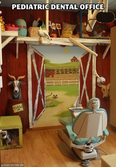 Pediatric dental office  This is awesome and would definitely make the kids feel more comfortable.