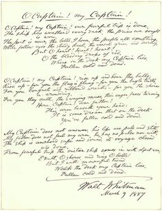 "A 1887 handwritten draft of Whitman's 1865 poem ""O Captain! My Captain!"""