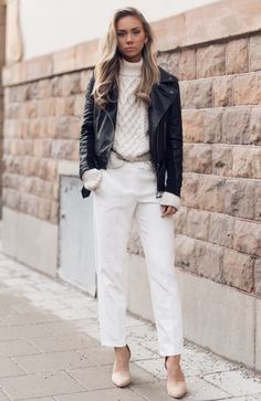 leather-jacket-with-chunky-sweater-and-white-trousers