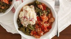 A cozy one-pot meal, our slow-cooked stew is made with Italian sausage, kale and mashed potatoes. It's a hearty meal for a chilly winter evening.