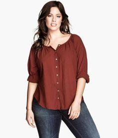 H&M plus size peasant blouse