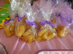 tangled party favor. So cute! Yellow licorice like her hair! Love!!!