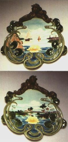 Carl Luber, Art Nouveau scenic plaques, 1900, glazed earthenware with brass mounts, 14.6 x 15.25 in.