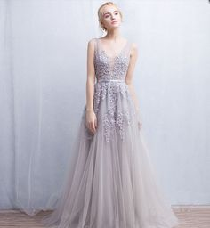Grey Floral Lace Appliqués Floor Length Tulle Bridal
