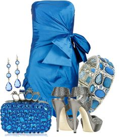 """Bold in a Blue Dress"" by loveronica on Polyvore"
