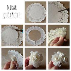 Risultati immagini per paper doily flowers