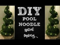 Pool Noodle Spiral Topiary, Dollar Tree DIY Video by ChicOnTheCheap In this video, ChicOnTheCheap will be showing you how to make a spiral topiary with a pool noodle, using all items from The Outdoor Topiary, Topiary Trees, Topiary Plants, Outdoor Trees, Dollar Tree Decor, Dollar Tree Crafts, Dollar Tree Mirrors, Christmas Crafts, Dollar Tree Christmas