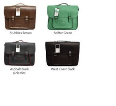 Moana Road high school satchels/bags, black, brown and green.