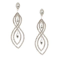 """<P>Twist things up with some standout sparkle. Rhinestone chains form double figure 8 shapes with marquis crystals dangling inside.</P><UL><LI>1""""L x 3 1/4""""H<LI>Post back</LI></UL>"""