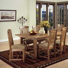 Sunny Designs Furniture: Sedona Collection Rustic Oak 7 Piece Dining Set. #diningroom