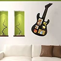Musical guitar shapes picture frame, holds 6 photos 3X3 & 4X6. house music in script on handle 28.5 inches tall