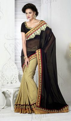 Black and Cream Jacquard Georgette Half N Half Saree Price: Usa Dollar $123, British UK Pound £73, Euro91, Canada CA$134 , Indian Rs6642.