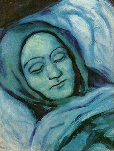 Head of dead woman, 1902, Pablo Picasso Size: 44.5x34.1 cm Medium: oil on canvas